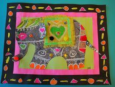 OR kinders: Indian Elephants 3rd Grade Art Lesson, 4th Grade Art, Group Art Projects, School Art Projects, School Ideas, Elephant Art, Indian Elephant, Ecole Art, India Art