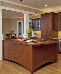 craftsman style kitchens | Family-Sized Craftsman Style Kitchen. Custom Designed Island ... another huge but nice island