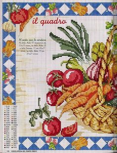 ru / Фото - Frutas e verduras - Biscornu Cross Stitch, Cross Stitch Fruit, Cross Stitch Kitchen, Cross Stitch Boards, Cross Stitch Flowers, Diy Embroidery, Cross Stitch Embroidery, Embroidery Books, Cross Stitch Designs