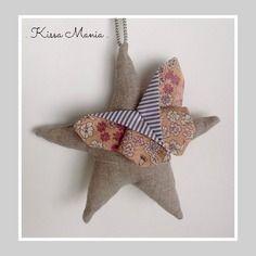 """Suspension, mobile bébé étoile en lin et papillon en origami liberty rose poudré. """"rêver"""""""