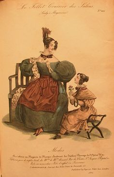 Illustration from Petit Courrier, 1832. Love the over-the-top sleeves <3