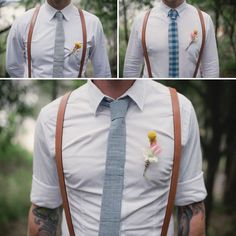 Love the suspenders and mismatch ties for the groomsmen... The is definitely happening:-)