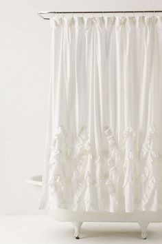 DIY Waves of Ruffles shower curtain tutorial The Most Useful Bathroom Shower Ideas There are almost White Ruffle Shower Curtain, Pretty Shower Curtains, White Shower, Bathroom Curtains, Apartment Therapy, Apartment Ideas, Curtain Tutorial, Houses, Interiors