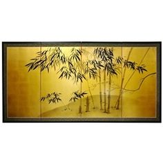2ft & 3ft Tall Gold Leaf Bamboo Decorative Folding Screen