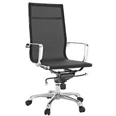 Sleek office chair with black vinyl seat and back, supported by chrome plated steel. Seat has an adjustable height, locking tilt High Back Office Chair, Black Office Chair, Mesh Office Chair, High Back Chairs, Office Chairs, Bar Chairs, Dining Chairs, Contemporary Chairs, Modern Chairs