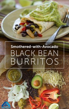 Spice up your next burrito and try this delicious Smothered-with-Avocado Black Bean Burrito. Simply blend avocado, salsa and juice and smother sauce over burritos for a zesty meal!