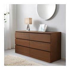 MALM Chest of 6 drawers - brown stained ash veneer - IKEA Storage plus somewhere to display items high Ikea Malm Dresser, 6 Drawer Dresser, Dresser As Nightstand, Brown Dresser, Wide Chest Of Drawers, Wood Veneer, Home Interior, Storage Spaces, Ikea Storage