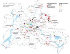Angriffe auf Flüchtlingsheime und Angriffe auf Parteibüros in Berlin im Jahr 2016.  Infografik erschienen in der Berliner Morgenpost