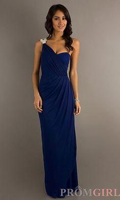 Floor Length One Shoulder Dress at PromGirl.com