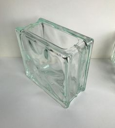 ONE large vintage Glass Block Flower Vase MCM mid century Flower Vases, Flowers, Glass Blocks, Clear Glass, Mid Century, Handmade, Stuff To Buy, Vintage, Bud Vases