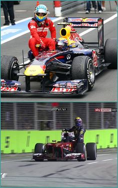 friends forever-mark webber and fernando alonso!