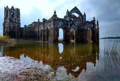 Ruined old Gothic church, probably built by French colony. During high monsoons the church will be 70 percent submerged in water, but...