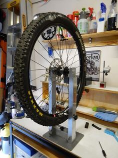 Home Mechanic Bicycle Wheel Truing Stand : 12 Steps (with Pictures) - Instructables Garage Furniture Design, Car Part Furniture, Automotive Furniture, Automotive Decor, Handmade Furniture, Modern Furniture, True Up, Basic Hand Tools, Mechanic Garage