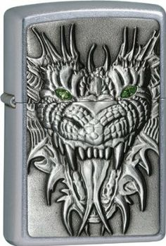 """Zippo Mighty Dragon. by Zippo. $29.00. Zippo Mighty Dragon. Street chrome. Features Swarovski crystals.   These world famous lighters are made in the USA, feature wind resistant lighting and an unconditional lifetime guarantee. Regular Zippo's measure 2 1/4"""" x 1 7/16"""", slim models measure 2 1/4"""" x 1 1/8"""". Weight: 0.2lbs"""