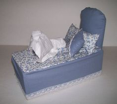Bed Shaped , Tissue Box Cover , Two Mini Pillows , Blue Floral , Novelty , Fabric Craft , Home Decor ,  Unique Design , Shipping Included!