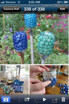 Glass garden ornaments made from flat backed marbles and mason jars