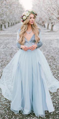Dreamy Blue Wedding Dresses To Inspire ★ #bridalgown #weddingdress