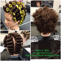 Straight back wet set with Nioxin Bodifying foam Roller Set Hairstyles, Wet Style, Wet Set, Hair Setting, Lock Style, Perms, Hairstylists, Curlers, Hairdos