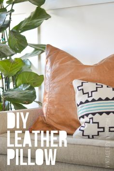 DIY Leather Pillow Tutorial vintagerevivals