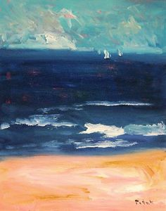 Painting seascape sailboat ocean beach original canvas wall art by Russ Potak,  New England