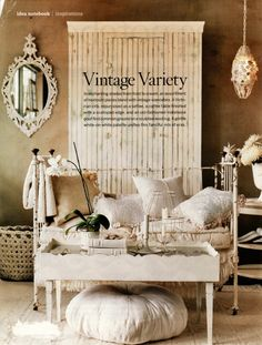 BH&G and Country Living magazines have many beautiful pictures of Shabby Chic decor. Shabby Chic is a comfortable and casual decorating st. Shabby French Chic, Shabby Chic Français, Estilo Shabby Chic, French Decor, Victorian Cribs, White Daybed, Old Cribs, Vibeke Design, Sweet Home