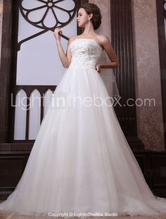 A-line Strapless Chapel Train Tulle Satin Wedding Dress With Veil-ZZKKO