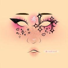 Edgy Makeup, Grunge Makeup, Eye Makeup Art, Crazy Makeup, Makeup Inspo, Makeup Stencils, Makeup Face Charts, Makeup Drawing, Halloween Eye Makeup