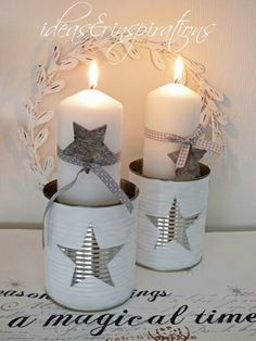 Tin, paint, can cute for christmas DIY star box * star tin Source by Noel Christmas, Christmas Candles, Christmas Is Coming, White Christmas, Christmas Crafts, Christmas Decorations, Xmas, Christmas Ornaments, Tin Can Crafts