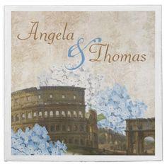Ancient Rome Blue Hydrangea Wedding Napkins Disposable Napkins