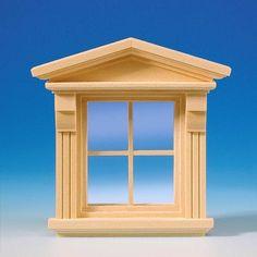 Viktorianisches Fenster (50390) aus Naturholz mit echter Glasscheibe, separaten Sprossenleisten und Innenverkleidung. Zum lackieren des Fensterrahmens und der bereits montierten Sprossen, kann die Glasscheibe einfach aus dem Rahmen entfernt werden! Maße: 80 x 95 (BxH) mm Ausschnittmaße: 65 x 74 mm (BxH).