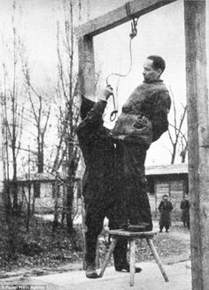 Rudolph Hoss, the Commandant of Auschwitz, trying to avoid the noose, before being hanged on the grounds of Auschwitz
