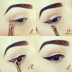 How do I create a perfect eyeliner? Let's agree that nothing enhances your eye make-up like a dramatic, perfectly drawn winged eyeliner. It looks super sharp and complements almost any k. Perfect Cat Eye, Perfect Eyeliner, Simple Eyeliner, Dramatic Eyeliner, Perfect Makeup, Dramatic Eyes, Beauty Make-up, Beauty Hacks, Hair Beauty