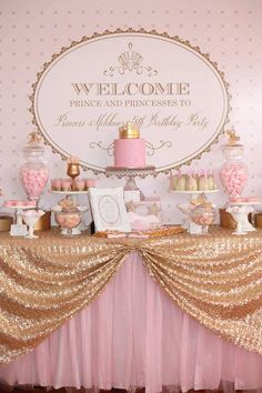Princess Pink and Gold Royal backdrop (PDF printable file)...would be cute for a baby shower too