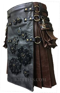 Brown Leather Utility Kilt Grey Leather Steampunk Gears Design Interchangeable Adjustable Custom Fit Handmade in Seattle, Washington by Kilt This designers. Leather Kilt, Grey Leather, Cowhide Leather, Leather Hides, Tartan Fashion, Mens Fashion, Scottish Man, Utility Kilt, Man Skirt