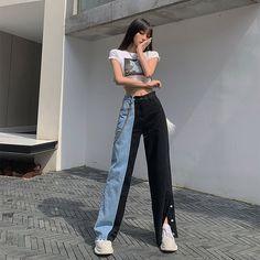 Korean Girl Fashion, Ulzzang Fashion, Kpop Fashion Outfits, Korean Outfits, Pantalon Long, Vintage Jeans, Cute Casual Outfits, Daily Fashion, Aesthetic Clothes