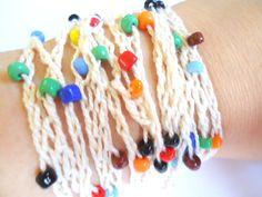 Beaded wrap bracelet crochet bracelet in cream and colorful glass beads unique bracelet unique jewelry boho bohemian jewelry OOAK bracelet by VazJewelryOriginals on Etsy (null)