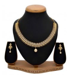 Alluring one gram gold American diamond Paisley necklace is elegant for Marriage, engagements and for a Party. Bridal wear