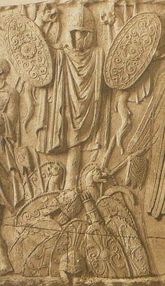 Roman relief on Trajan's column depicting Dacian arms and armor Ancient Rome, Ancient Greece, Ancient History, European Tribes, Roman Sculpture, Modern Sculpture, Ancient Discoveries, Roman Soldiers, Roman History