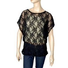 Allegra K Ladies Black Round Neck Short Bat Sleeve Lace Shirt XS Allegra K. $7.92