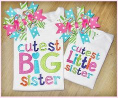 Big Sister, Middle Sister, Little Sister, Sibling Set, Embroidery Sibling Shirts