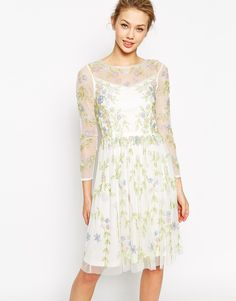 Image 1 ofFrock and Frill Long Sleeve Midi Dress With All Over Garden Embellishment
