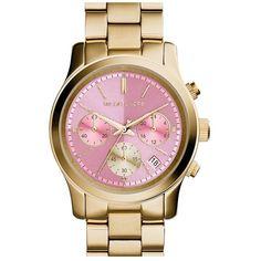 Three-eye chronograph and date window lend technical functionality to a stylish bracelet-band watch. Brand: MICHAEL Michael Kors. Style Name: Michael Kors 'Run…