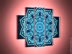 Купить полиптих-узор - синий, полиптих, модульные картины, оригинальные подарки, абстрактный узор, узоры