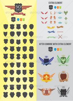 50 Shield Elements #vector #eps #frame #decoration • Available here → https://graphicriver.net/item/50-shield-elements/3045964?ref=pxcr