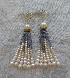 Jewelry Earrings Pearl Iolite Tassel Earrings at - Tassel Jewelry, Wire Jewelry, Jewelry Crafts, Beaded Jewelry, Jewellery, Bead Earrings, Tassel Earrings, Pearl Necklace, Silver Earrings