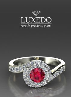 Diamonds and ruby White gold ring - a customized creation by Luxedogems.com