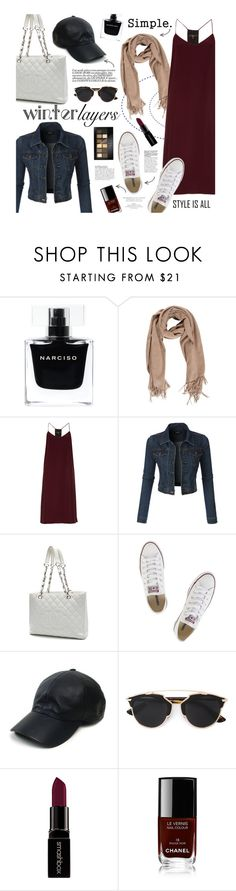 """""""Simple Layers"""" by clovers-mind ❤ liked on Polyvore featuring Narciso Rodriguez, TIBI, LE3NO, Chanel, Converse, Vianel, Christian Dior, Smashbox, Maybelline and CO"""