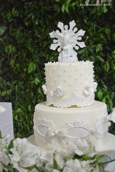 DecoraçãoBatizadoMeninaAmarelo8 Religious Cakes, First Communion Cakes, Baptism Party, Sugar Craft, Baby Shower, Celebration Cakes, Cake Designs, Christening, Cake Toppers