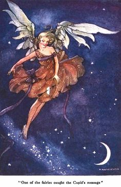 "One of the Fairies Caught the Cupids Message; The Wee Little Cupid & the Magic Stardust from ""Little Folks - The Magazine for Boys and Girls"" - London: Cassell and Co., Ltd., 1915."