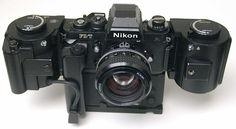 Black Nikon F3/T with MF-4 250 Back + MD-4 Motor Drive + AH-3 Tripod adapter + Nikkor 1.2/55mm.